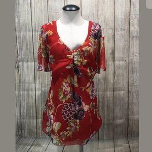 Oscar de la Renta top 16 red vneck floral silk